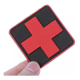 Patch Emborrachado Cruz Vermelha 6x6 Airsoft Ifak Socorro