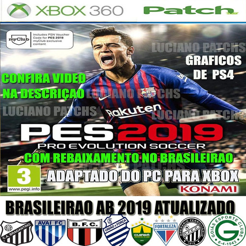 patch pes 2019 2018 xbox 360 pendrive correionao pague frete