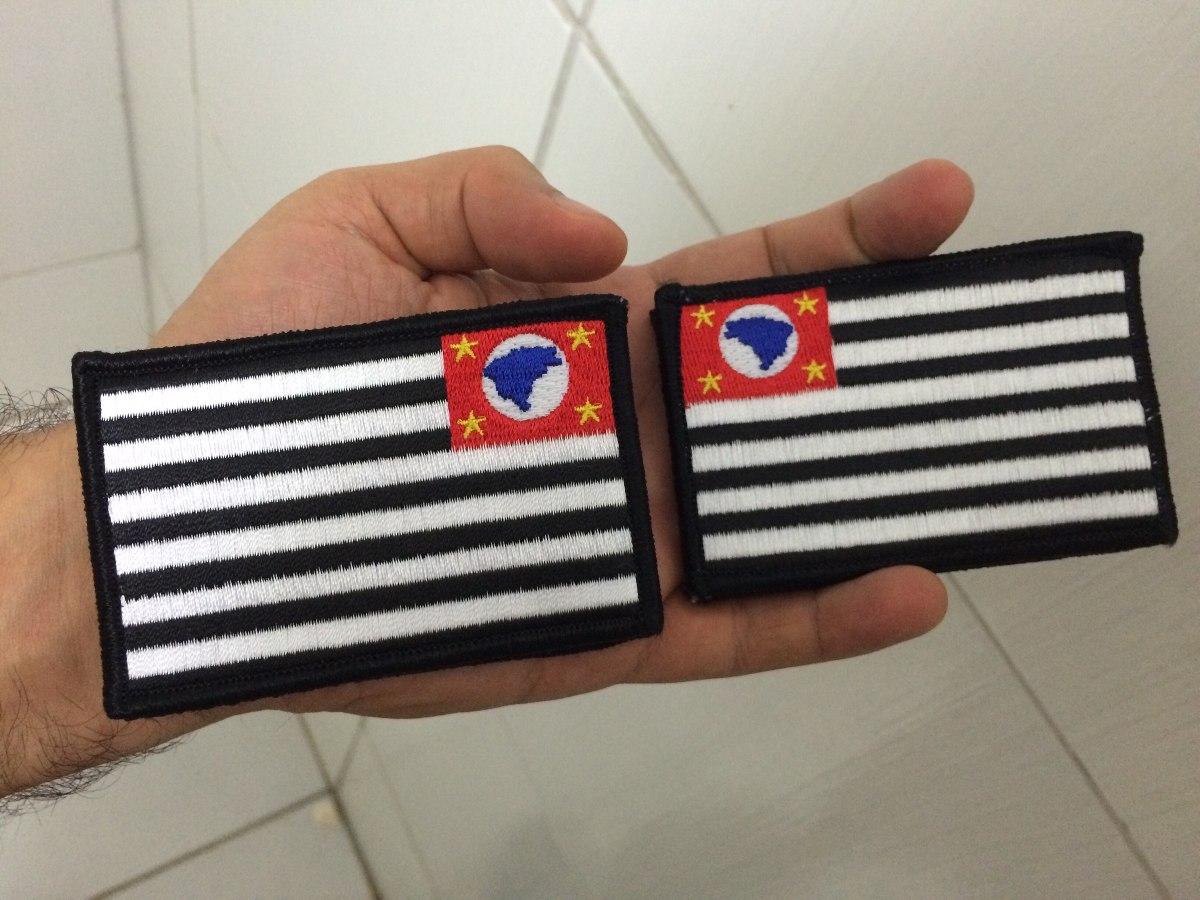 Patch Tático Bandeira São Paulo Negativa Airsoft (par) - R  19 95cad26a1a0a4