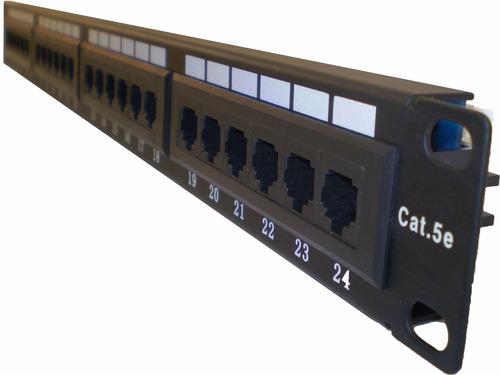 patchera patch panel rj45 24 puertos bocas jack cable red