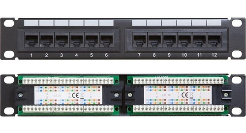patchpanel 12 ptos puertos cat6 rackeable