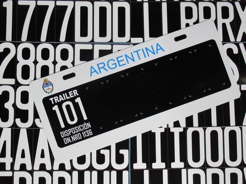 patente 101 para trailers modelo anterior chapa argentina
