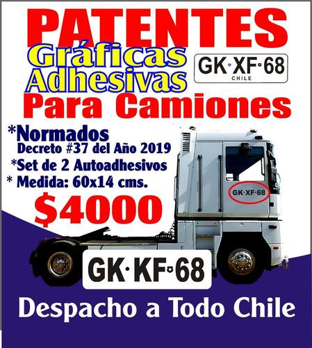 patentes camiones adhesivas