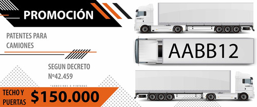 patentes para techo y puertas de camiones