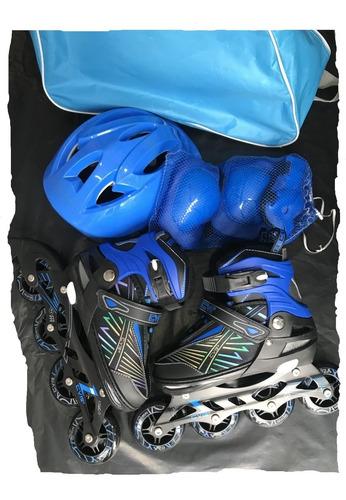 patin en línea semiprofesional cvb + protección/casco basico