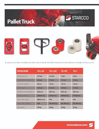 patin hidraulico traspaleta 2.5 ton starcco