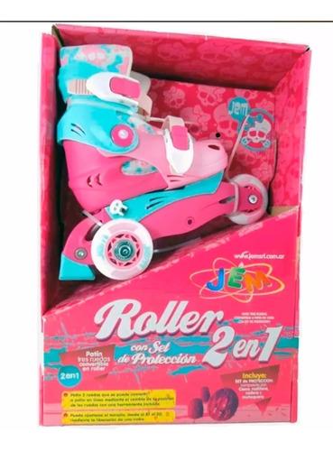 patin patines rollers jem yx-0116 2 en 1 set de proteccion