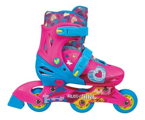 patines 2 en 1, 3 ruedas rush girl-rosado 29 a 33