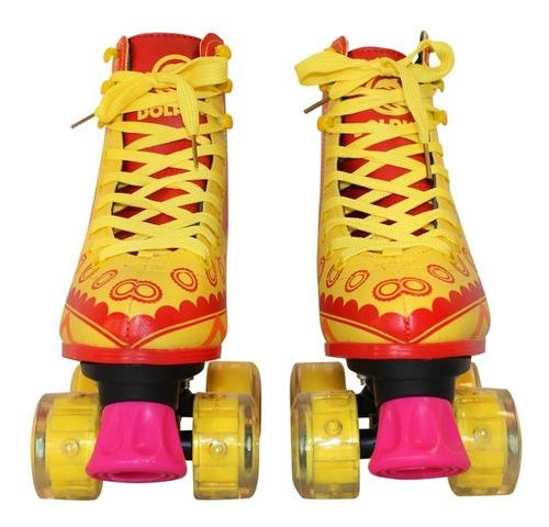 patines 4 ruedas con luces bolso, tienda dophin, talles 32 al 40, envió full 24 - 48 hs a caba y bs as tipo soy luna