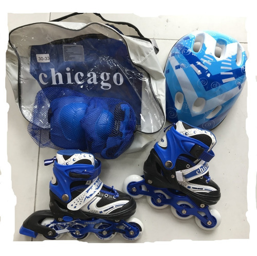 patines chicago niño en linea ajustables + kit completo