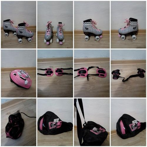 patines mujer color blanco rayas negras de 4 ruedas