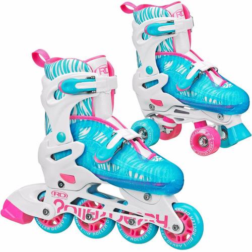 patines roller derby 2 en 1 cuatro ruedas  lineales soy luna