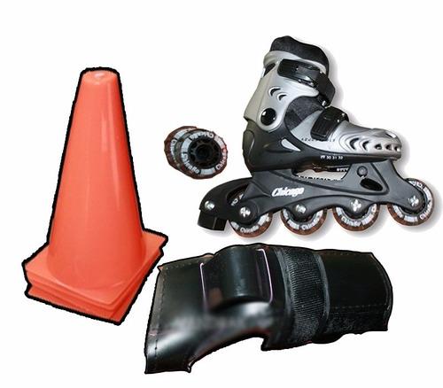 patines semiprofesionales chicago kit protección cascos cono