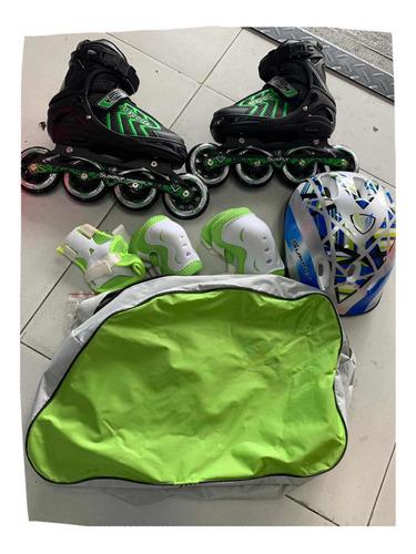 patines semiprofesionales suxfly + casco + protecciones basi