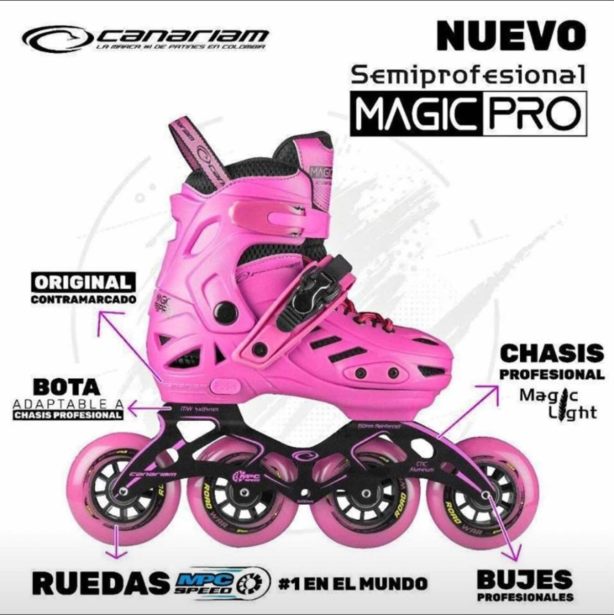 Patines Semiprofessionales Black Magic Pro Canariam Nuevos!!