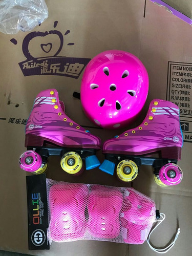 patines sol y luna ollie 32-40 set de proteccion y luces