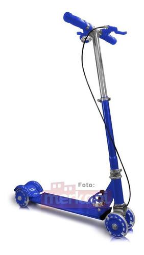 patineta azul metalizada 4 ruedas monopatin scooter navidad