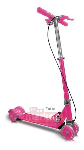 patineta rosada metalizada 4 ruedas monopatin scooter navida