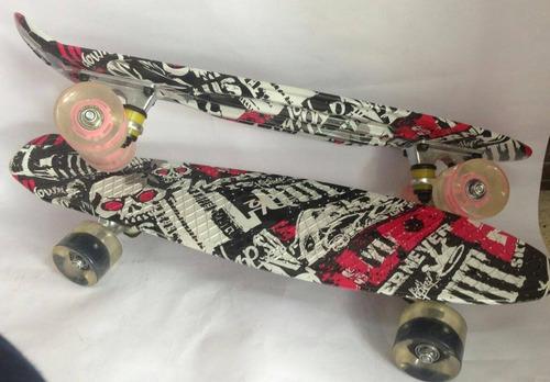 patinetas penny en varios diseños con ruedas luminosas.