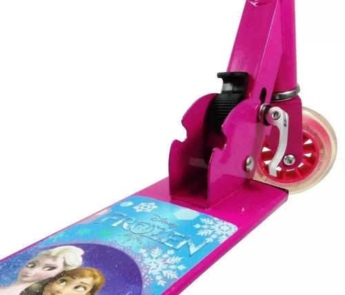 patinete frozen infantil buzina freio e regulagem altura 3d