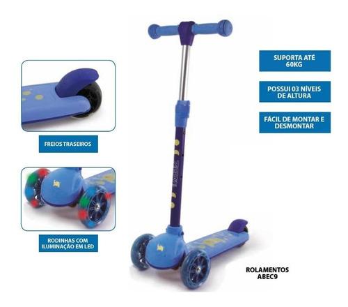 patinete infantil 3 rodas led c/ freio até 60kg rol. abec 9