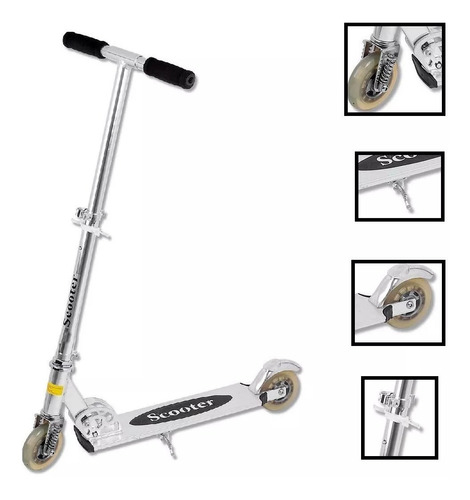 patinete infantil alumínio dobrável molas freio inmetro 70kg