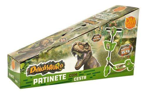 patinete infantil dinossauro com cestinha 3 rodas luz e som