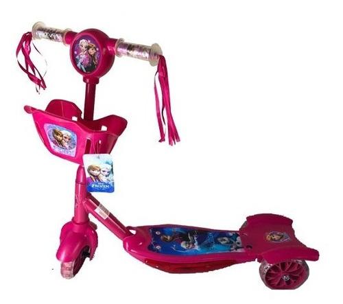 patinete infantil musical  3 rodas c/ luzes e cesta