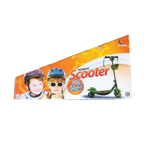 patinete infantil musical com luz scooter com 3 rodas verde