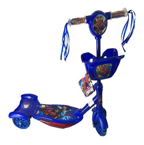 patinete masculino infantil 3 rodas heróis  c/ luzes  cesta