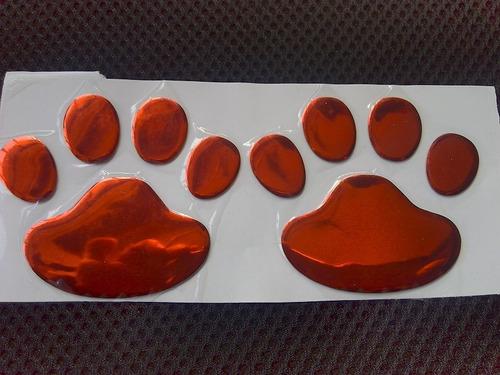 patinhas adesivo 3d, par, cor vermelha, carro, dog 60x60mm.