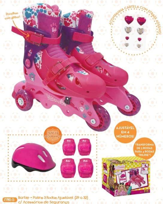 6fdfea17e Patins 3 Rodas Barbie Infantil Nº 29 A 32 Fun C  Nota Fiscal - R  312 ...