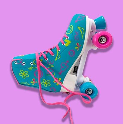 patins 4 rodas azul e rosa rollerskate 39 a 42 ajustavel