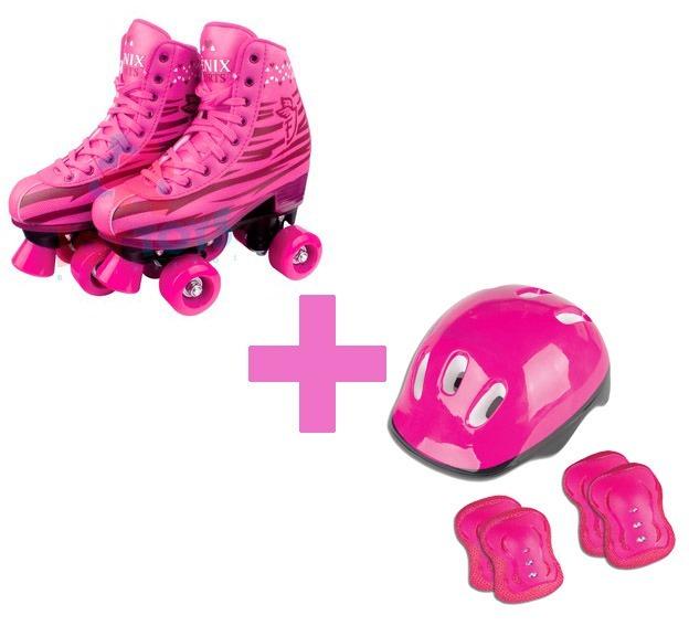 2aac6c5f21d Patins 4 Rodas Cadarço 36 37 Rosa Rl-01 + Proteção Pink - R  299