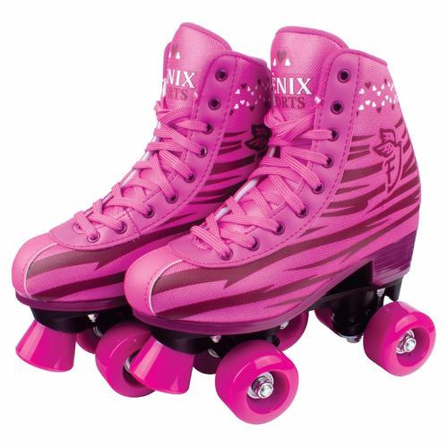 patins 4 rodas clássico rosa menina 34/35 roller skate rl-01