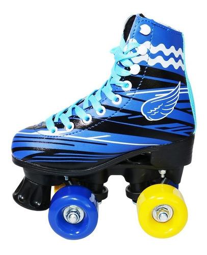 patins 4 rodas roller clássico infantil 2 cores inmetro