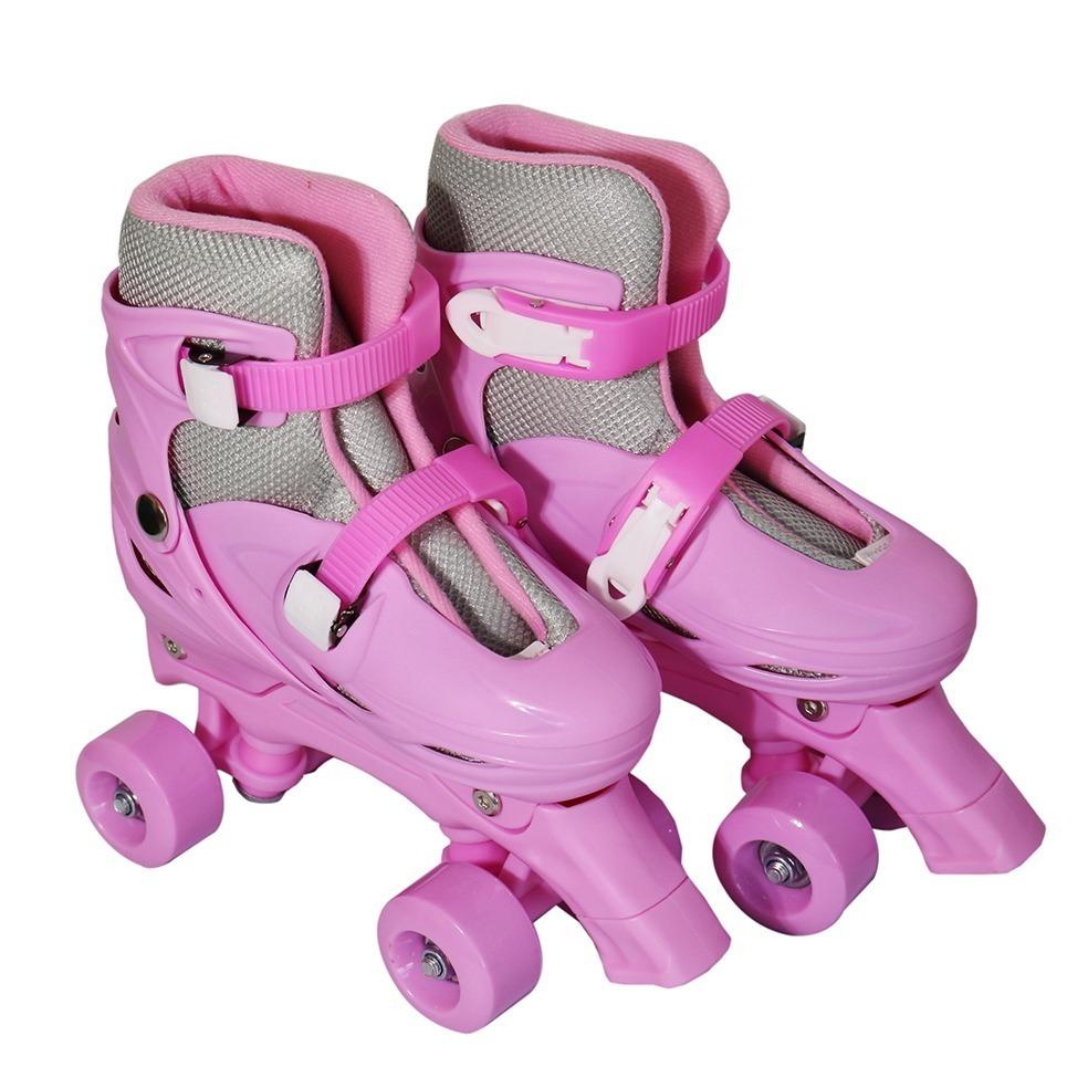0a85267c7 patins 4 rodas roller kit de proteçao rosa tam m. Carregando zoom.