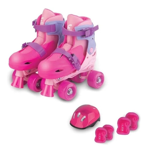 patins 4 rodas rosa menina c/ kit protecao 34 a 37 ajustavel