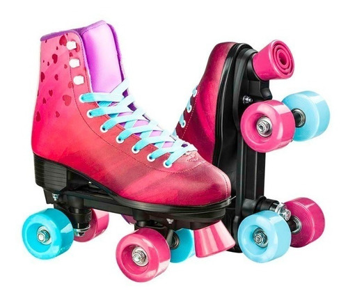 patins classico tamanho 34 roller 4 rodas rosa multikids