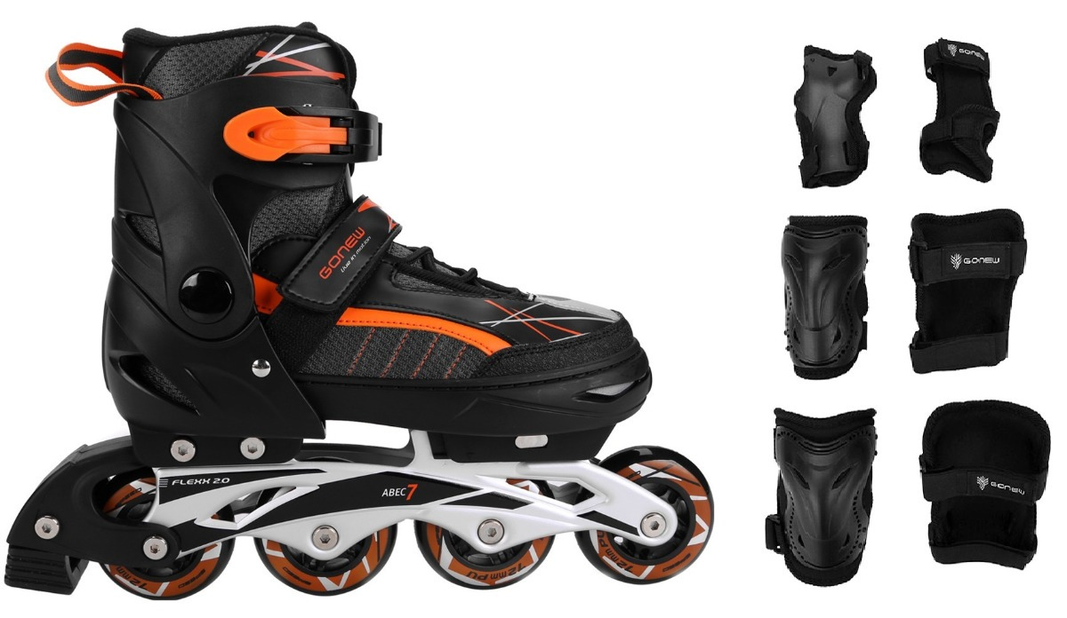 1d8a62fea4a patins gonew flex inline abec 7 ajustável + kit de proteção. Carregando  zoom.