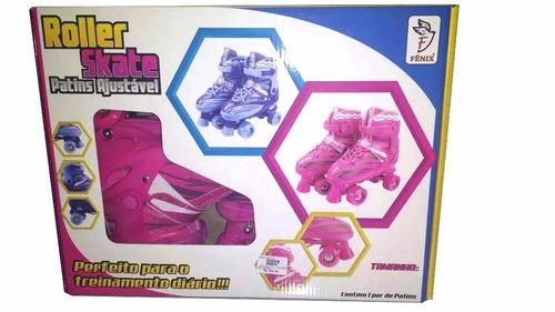 patins igual sou luna 4 rodas roller ajustável rosa fenix