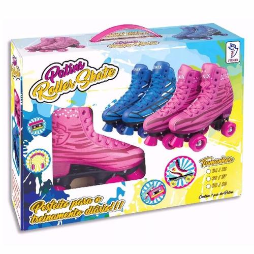patins igual sou luna 4 rodas roller menina rosa fenix 34/35