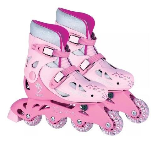 patins  in line com acessorios ajustavel 30 ao 33 rosa