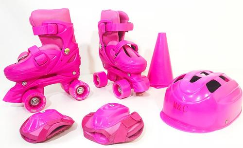 patins infantil feminino + acessórios 4 rodas - roller