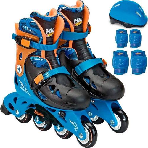 patins infantil hot wheels ajustável tam. 33 ao 36