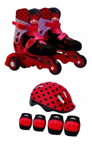 patins ladybug miraculous 3 rodas 29/32 acessorios bonellihq