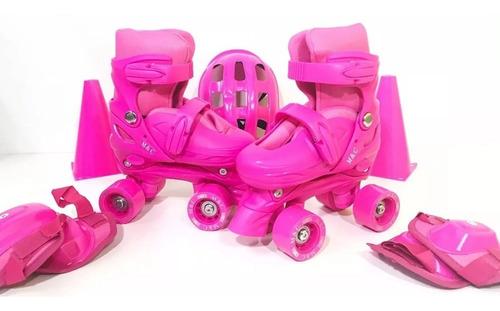 patins quad roller regulável com kit prot