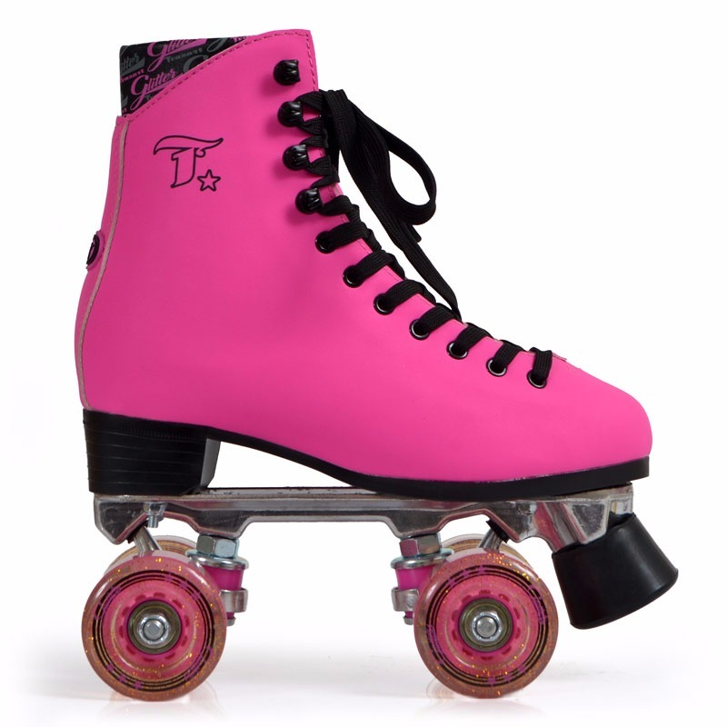 37908f1ee patins quad tradicional 4 rodas glitter pink orig. Carregando zoom.