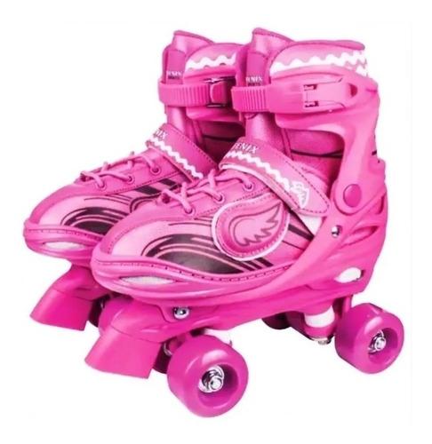 patins roller 4 rodas com luz 34 a 37 ajustável rosa