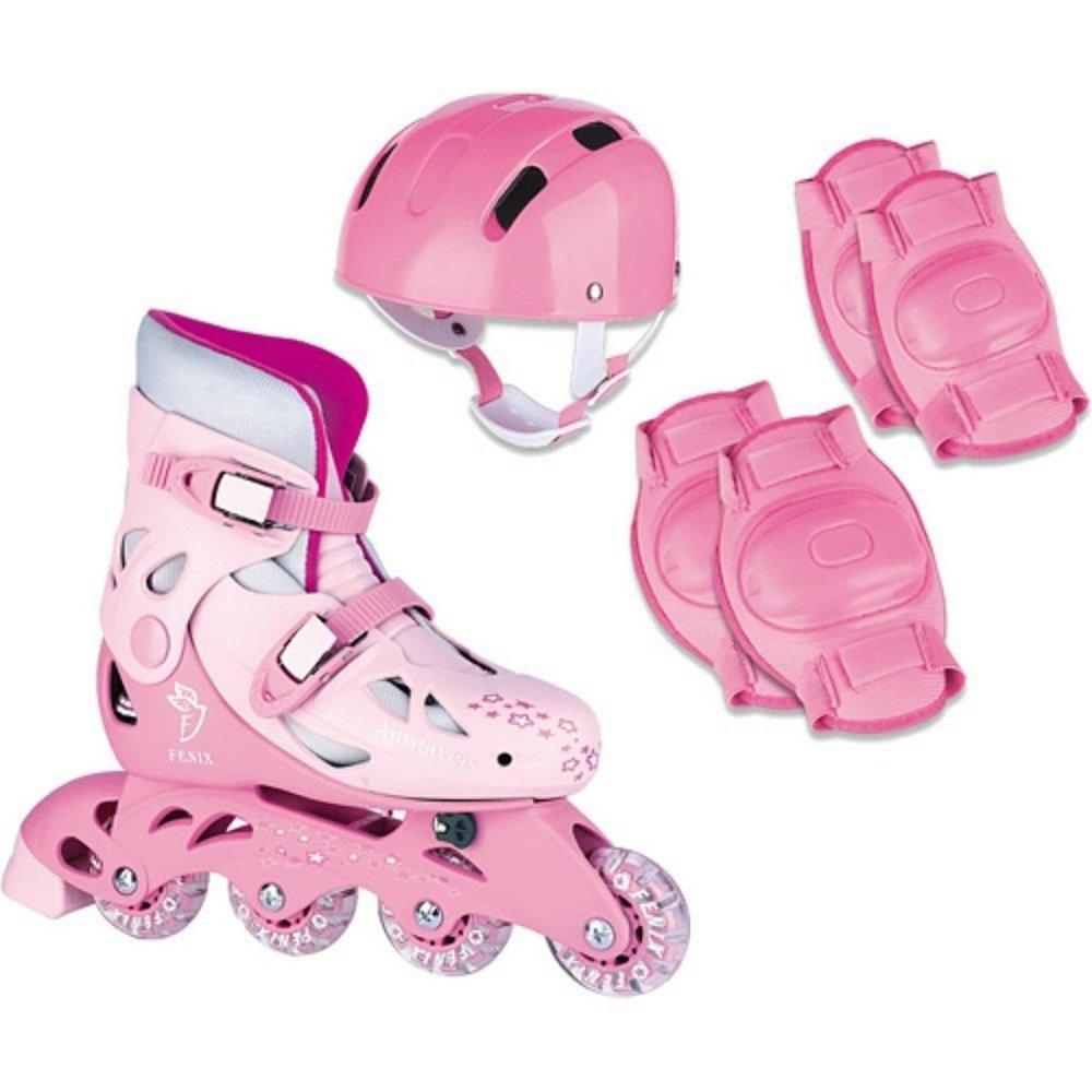 89fe8cc41 patins roller ajustável 30 33 com proteção rosa ad-01. Carregando zoom.
